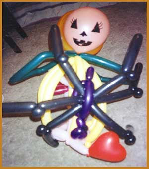 Balloon twister Daisy Doodle made a special balloon hat for her appearance on CBS-TV's annual childrens Halloween party in Manhattan.