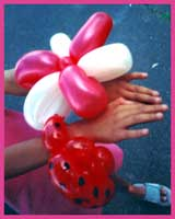 Daisy Doodle twists balloon bracelets for girls for street fair entertainment.  Here we have a flower balloon bracelet and a ladybug balloon bracelet.