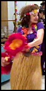 Hawaiian hula dancer Daisy Doodle at luau party in New York City