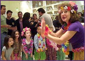 Kids learn an authentic Hawaiian hula dance in their hula lesson at a birthday party nyc