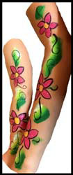 2 girls get matching body painting at birthday party in Manhattan NY