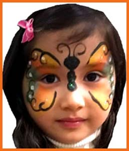 Birthday child picked butterfly for her face painting in Brooklyn NY