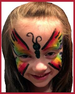 Rainbow butterfly is popular at kids party entertainment in New York City