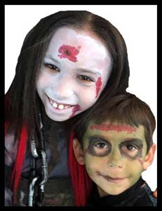 These kids got face painted as zombies at Halloween party in NYC