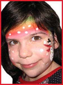Girl gets snowman face painting for company holiday party in Manhattan NY