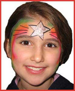 Child face painted with rainbow star for holiday party entertainment nyc