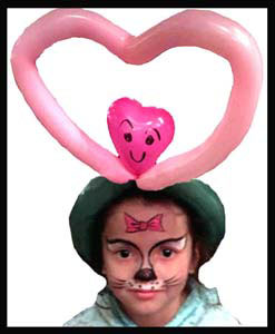 Hello Kitty face painting for child plus a heart shaped balloon hat