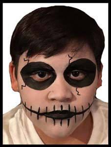 Skeleton face painting is popular with older kids at parties in nyc