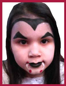 Older girl wanted vampire face painting at party in Brooklyn NY