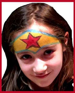 Wonder Woman superhero face painting for girls at birthday parties in ny