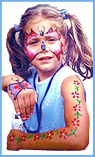 Some kids want both their faces and bodies painted by face painter Daisy at childrens birthday parties