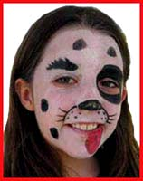 All the girls chose to be facepainted as dalmations at their friend's birthday party.  Who let the dogs out?