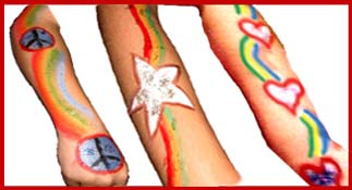 Samples of kids body painting, good for holiday or christmas party facepainting entertainment