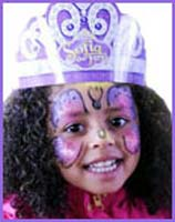 Sofia Lynn took this photo of girl's butterfly facepainting with colors that complement her princess crown at ny baby show in manhattan