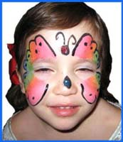 Butterfly animal facepainting is very popular for girls at birthday parties in manhattan.  This girl wanted a rainbow butterfly.