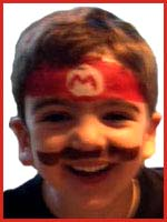 This boy wanted his face painted as Super Mario at his birthday party in Manhattan NY.  Doesn't he look cute?