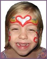 Girls love to be face painted as princesses at childrens parties in new york.  This girl chose a rainbow heart crown