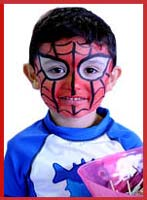 Daisy Doodle facepainted this boy as spiderman the superhero at the ny baby show in manhattan.  He promised not to climb the walls!