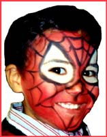 Kids party facepainter Daisy Doodle does a great spiderman facepainting 