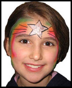 Child gets chanukah star for her facepainting at holiday party in Brooklyn ny
