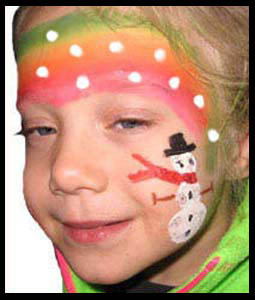 Lots of children choose a snowman as their facepainting at holiday parties