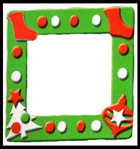 Children decorate picture frames as holiday party craft project in Brooklyn ny