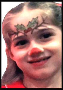 Rudolph is popular face painting choice for children at holiday parties