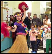 Hula dancer Daisy Doodle performing at childrens birthday party in new york