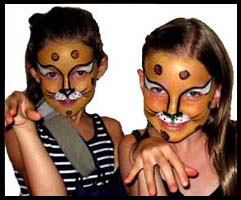 These 2 girls wanted to be painted as cougars for this party in Queens NY
