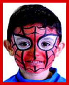 This boy chose to be facepainted as spiderman at a summer festival party in manhattan.