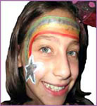 Rainbow star facepainting for childrens party entertainment nyc