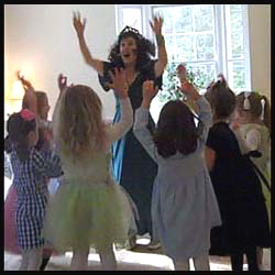 Daisy Doodle leads kids dancing at princess birthday party