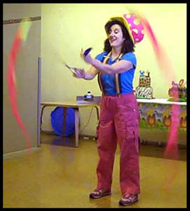Kids Performer Daisy Doodle Swings Poi Balls At Party For 1 Year Old