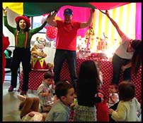 Kids love hanging out under the parachute at toddler birthday parties