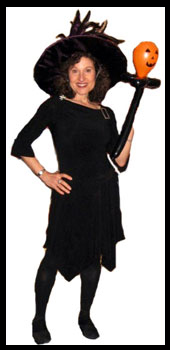 Kids magician Daisy Doodle dressed as witch for Harry Potter magic show and Halloween magic entertainment in nyc