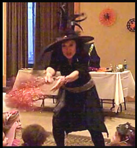 Kids magician Daisy Doodle's dramatic musical opening number for childrens Halloween party in Manhattan NY