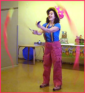 Performer Daisy Doodle Swings Poi Balls For Toddler Funtime Show Entertainment