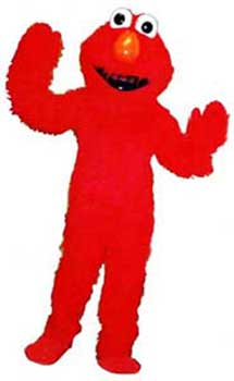 Childrens entertainer Daisy Doodle dresses up as Elmo character for an kids birthday party in nyc.