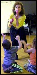 Kids love it when Emma character creates bubbles to a Wiggles song at this toddler birthday party in Bronx NY